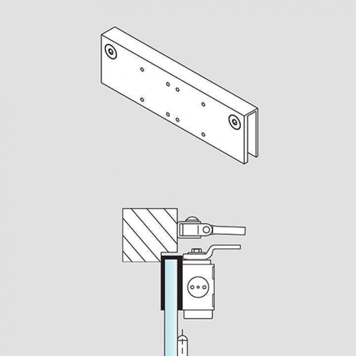 Base para cristal para aplicación del cierra puertas en puertas de cristal