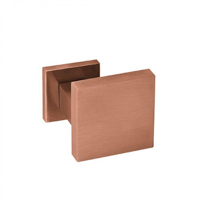 Puxador de porta -70x70, com roseta quadrada metálica QC08M - Titanium Copper