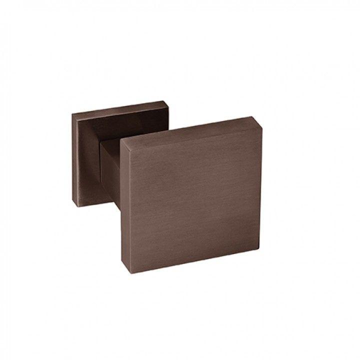 Puxador de porta -70x70, com roseta quadrada metálica QC08M - Titanium Chocolate