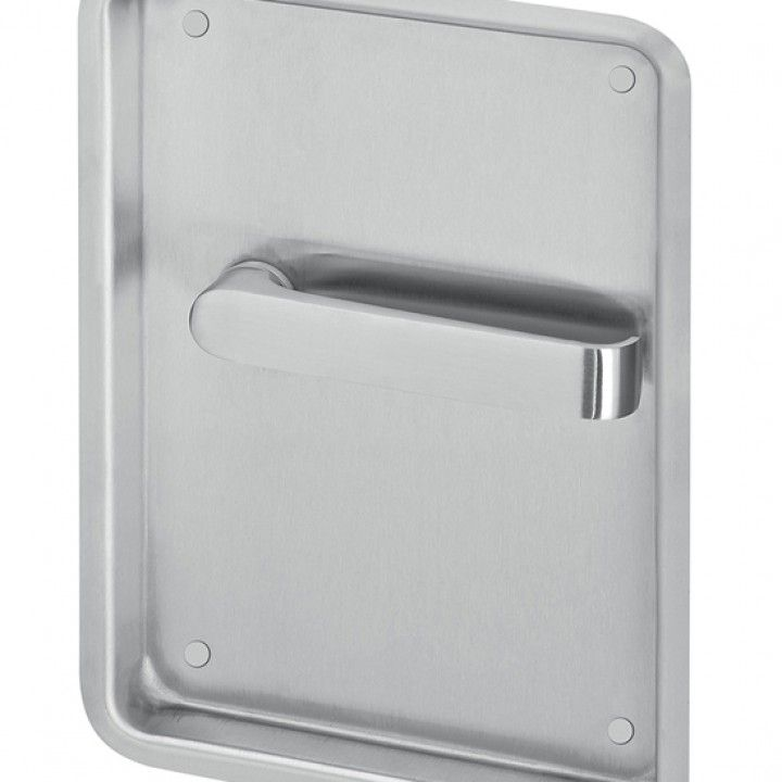 Blind flush plate  with lever handle and without spring - Right - 240 x 170mm