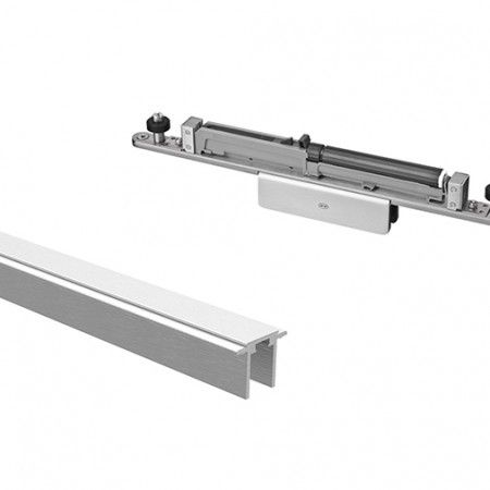 Aluminium upper track with stoppers and soft closing system for glass 3000