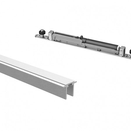 Aluminium upper track with stoppers and soft closing system for wood 3000