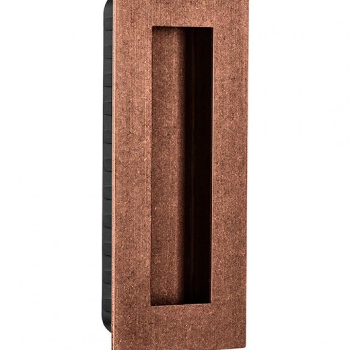 Rectangular Flush handle - 135 x 55mm -Raw Copper