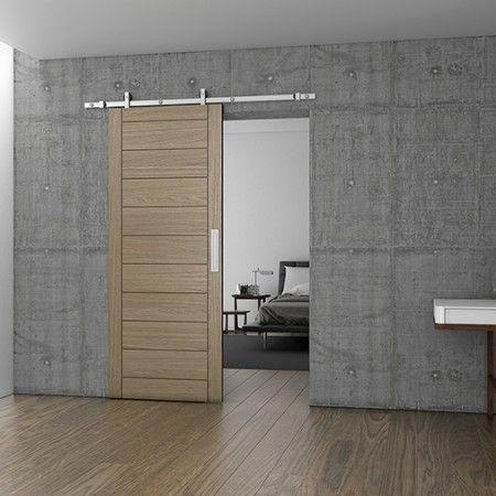 Kit completo p\ puertas correderas Charriot para madera - 2230mm - Acabado inox