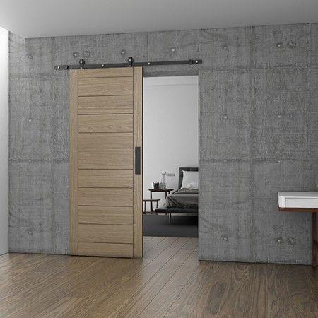 Kit completo p\ puertas correderas Charriot para madera - 1700mm - Acabado negro