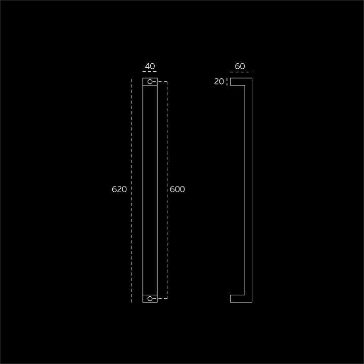 Pull handle - 600mm - Titanium Chocolate