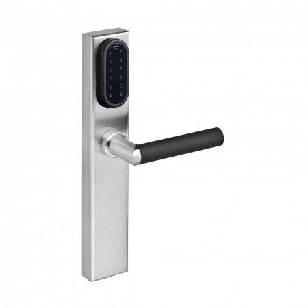 Electronic lock with number keypad and blind plate (outside) and cylinder key hole