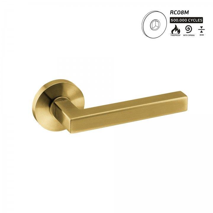 Manilla de puerta Geometric Quadro - Titanium Gold