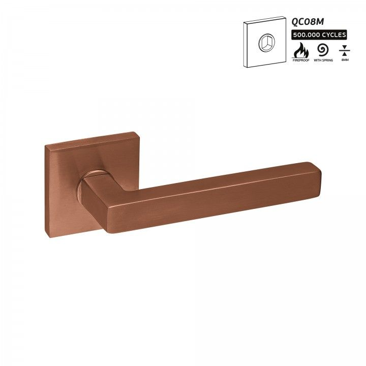 Manilla de puerta Quadro - 16x16 - Titanium Copper