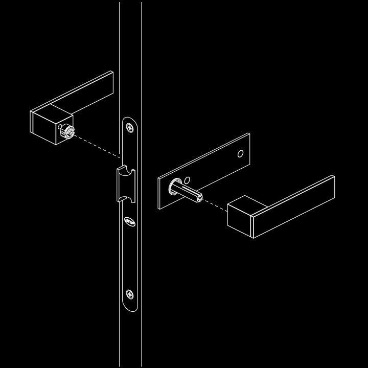 Lever handle Square with plate - Titanium Gold