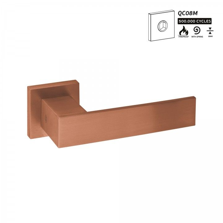 Puxador de porta com roseta metálica QC08M - Titanium Copper