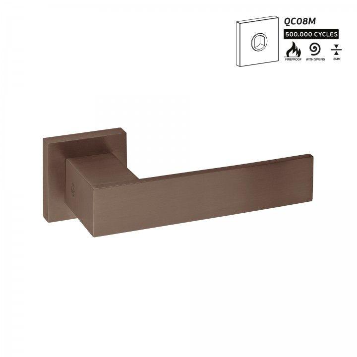 Lever handle with metallic rose QC08M - Titanium Chocolate