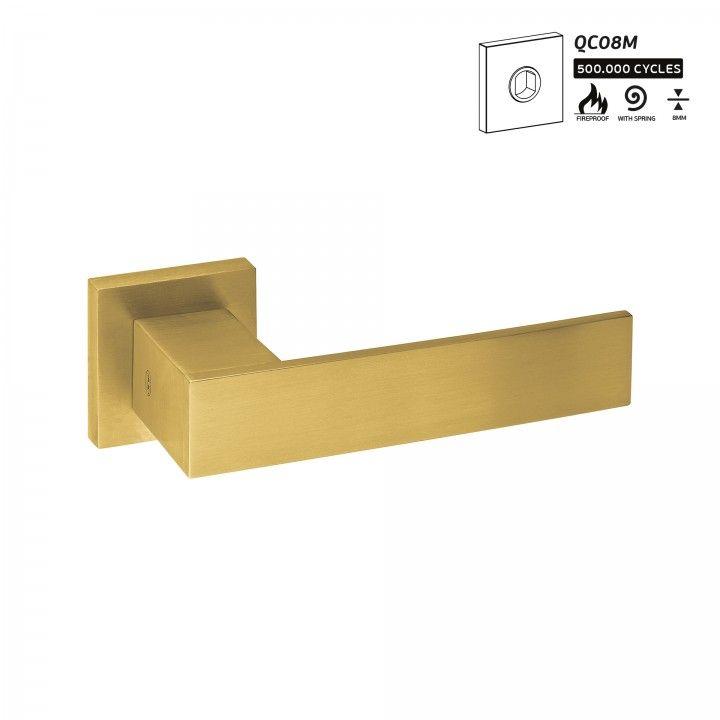 Manilla de puerta con roseta metalica QC08M - Titanium Gold