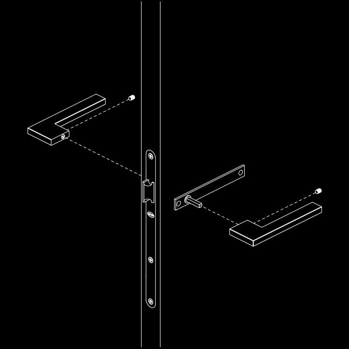 Puxador de porta com placa