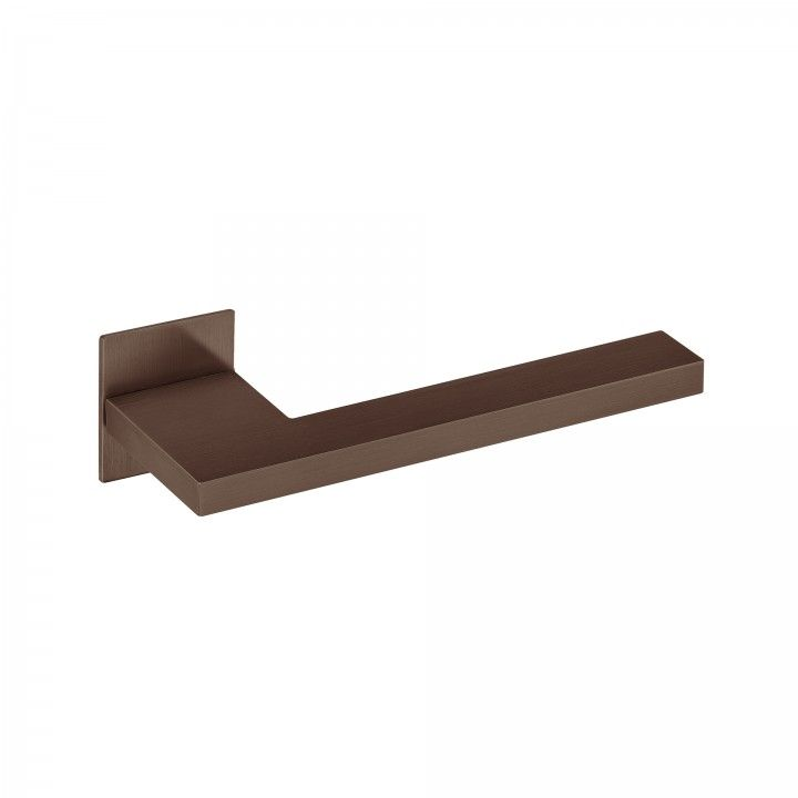 Lever handle with square plate SLIM - Titanium Chocolate