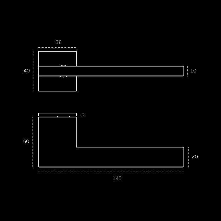 Manilla de puerta con placa cuadrada SLIM - Titanium Black