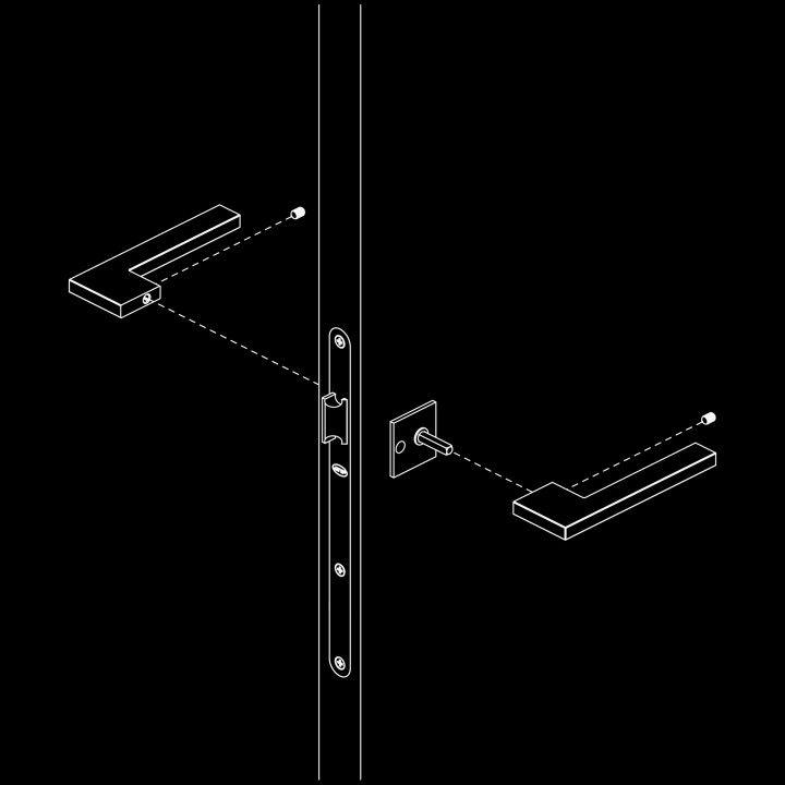 Manilla de puerta con placa cuadrada SLIM - Titanium Gold