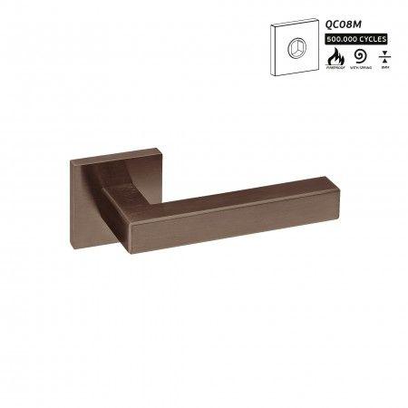 Manilla de puerta con roseta metalica RC08M - Titanium Chocolate