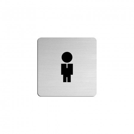"MAN pictogram in vinyl applied in stainless steel - 75 x 75mm ""Evol"""
