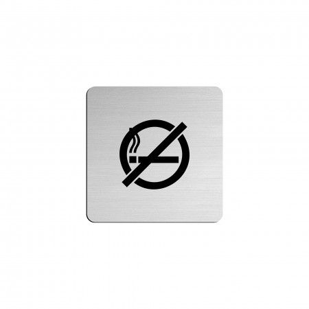 """NO SMOKING pictogram in vinyl applied in stainless steel - 75 x 75mm """"Evol"""""""