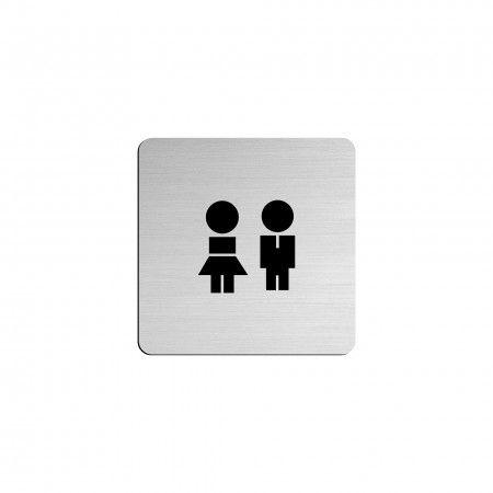 "MAN / WOMAN pictogram in vinyl applied in stainless steel - 75 x 75mm ""Evol"""