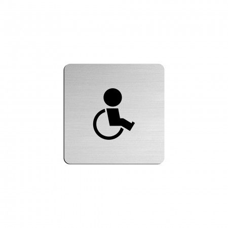 """DISABLED PEOPLE pictogram in vinyl applied in stainless steel - 75 x 75mm """"Evol"""""""