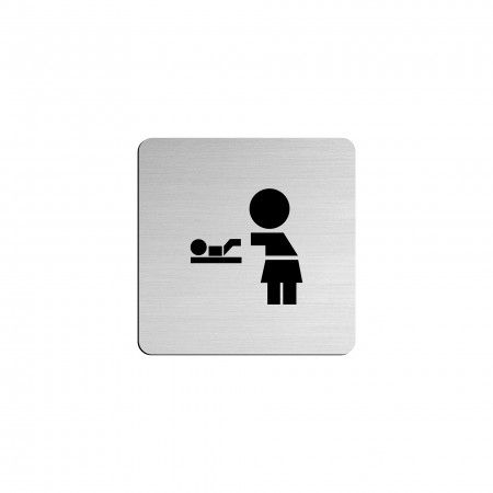 """BABY CHAGING ROOM pictogram in vinyl applied in stainless steel - 75 x 75mm """"Evol"""""""