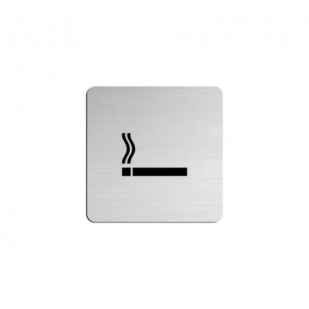 """SMOKING AREA pictogram in vinyl applied in stainless steel - 75 x 75mm """"Evol"""""""