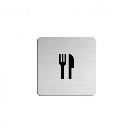 "BAR pictogram in vinyl applied in stainless steel - 75 x 75mm ""Evol"""