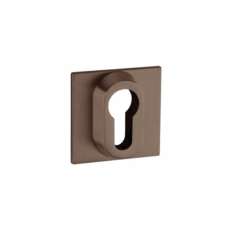 Metallic key hole for european cylinder Less is more - Titanium Chocolate