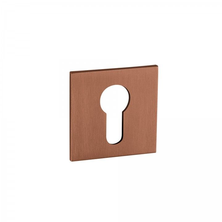 Metallic key hole for european cylinder Less is more - Titanium Copper