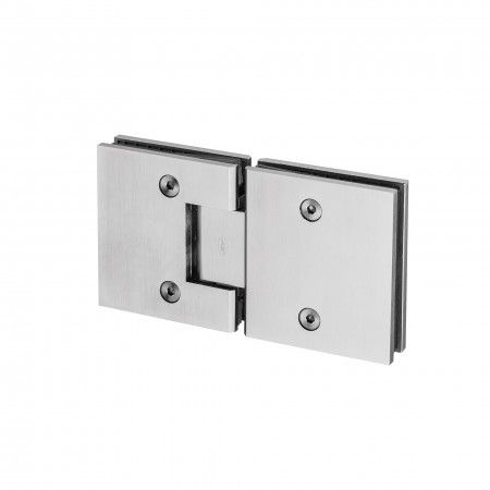 Glass to glass spring hinge with stop