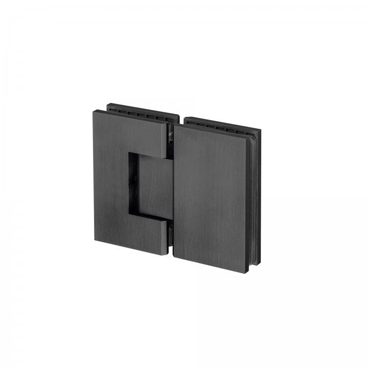 Glass to glass hinge with stop - Titanium Black