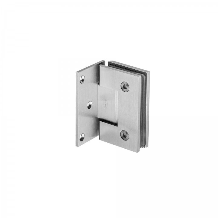 Wall to glass hinge with stop