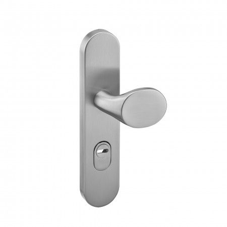 Safety plate with cylinder protection and fixed knob - 248 x 54mm
