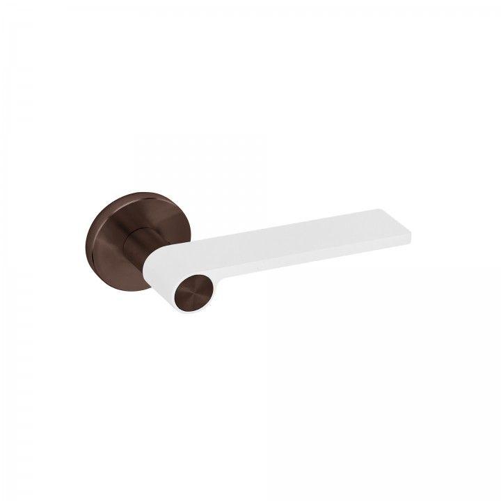 Lever handle Outline White - Titanium Chocolate