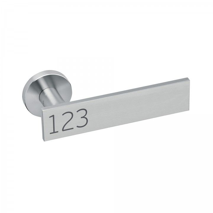 Lever handle Leaf Numeric, with metallic rose RC08M