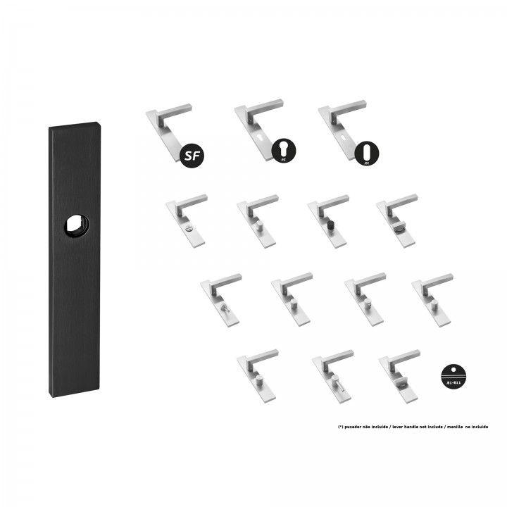 Placa, com mola - 230 x 40mm - Titanium Black