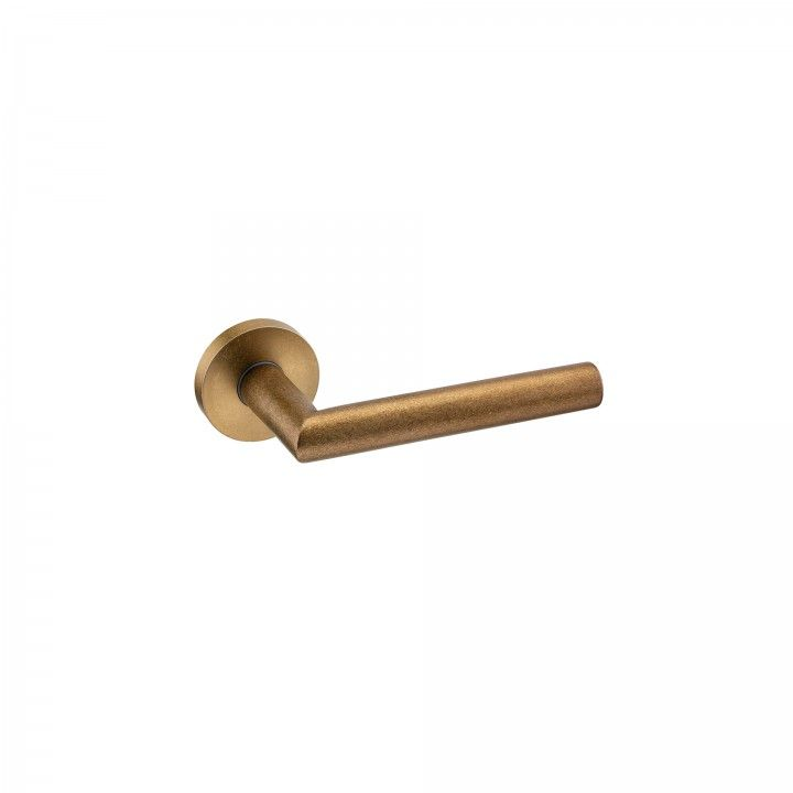 Lever handle - Ø19mm, with rose - Raw Gold