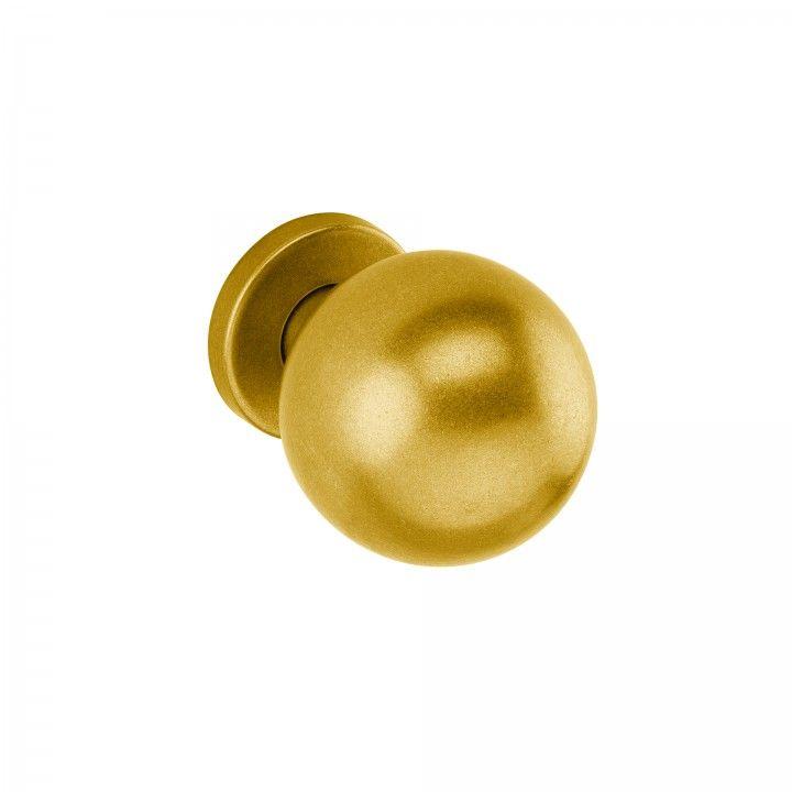 Pomo fijo con roseta metalica RC08M - Ø65mm -Raw Gold