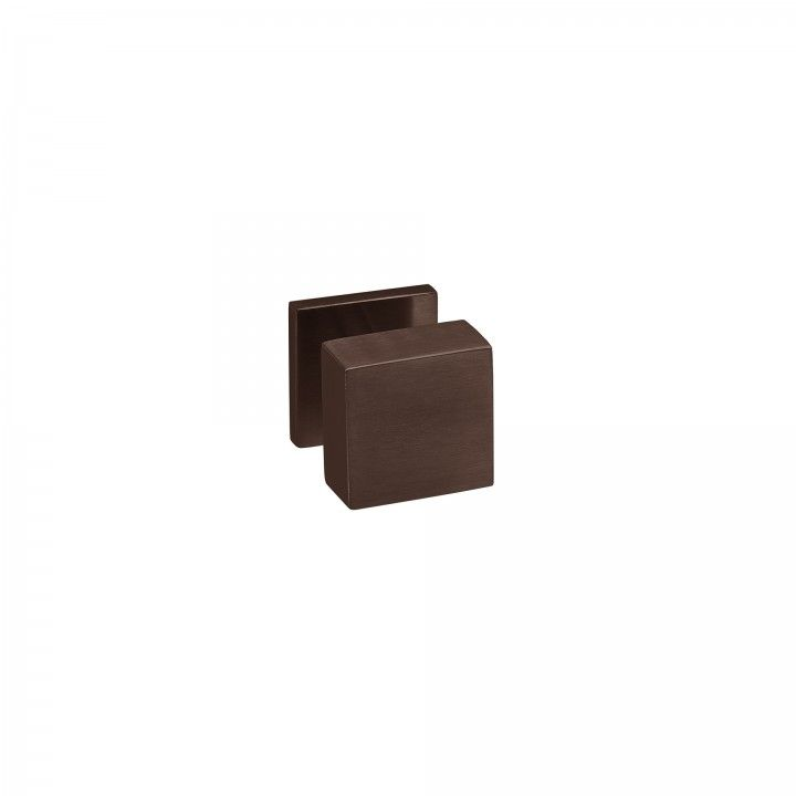 Fixed door knob Quadro - 50x50mm - Titanium Chocolate