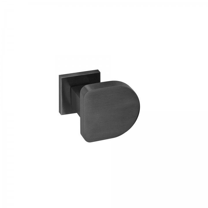 Puxador de porta, com roseta quadrada metálica QC08M TITANIUM BLACK