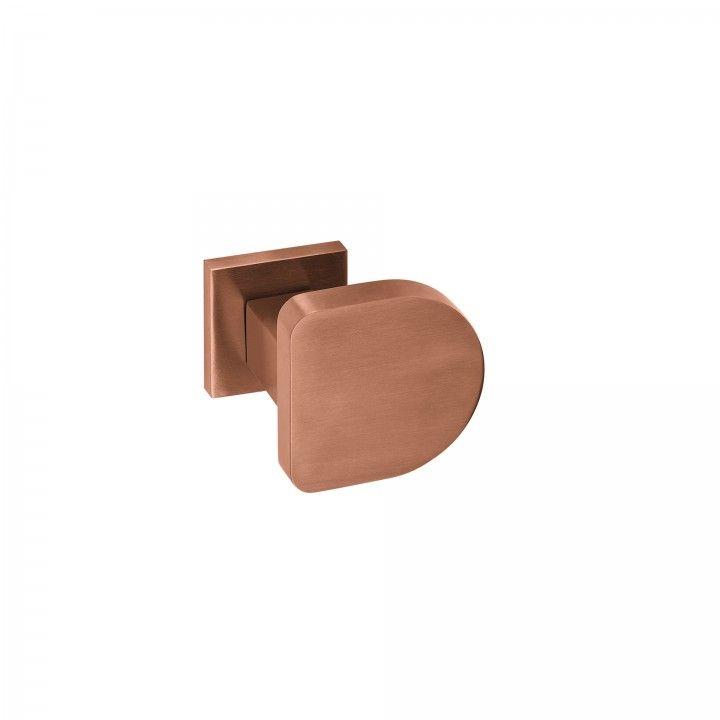 Puxador de porta, com roseta quadrada metálica QC08M TITANIUM COPPER