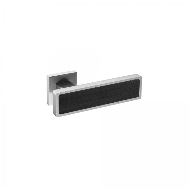 Lever handle Black, with metallic rose