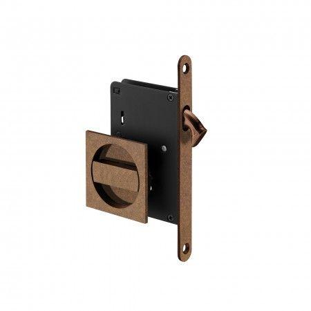 Mortise door lock for sliding doors - Raw Copper