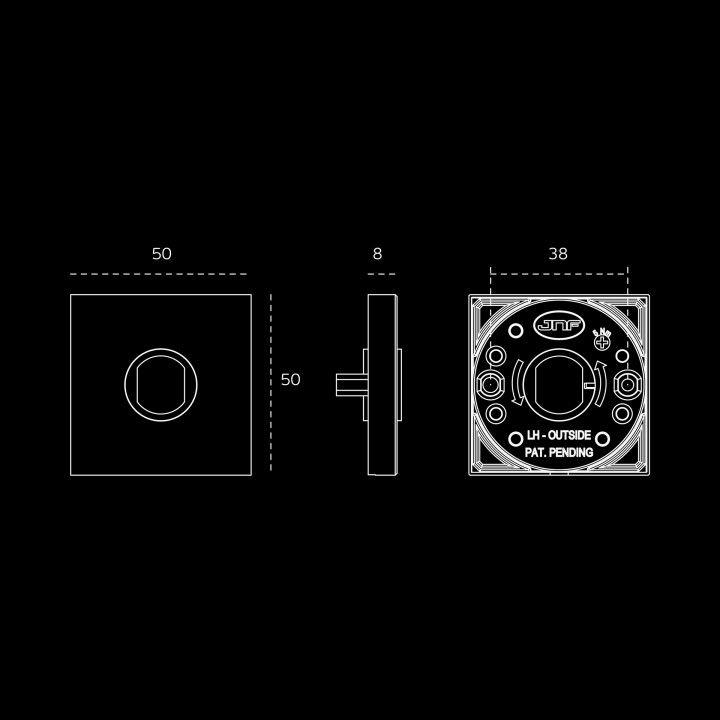 Puxador de porta Geometric Quadro - Polido