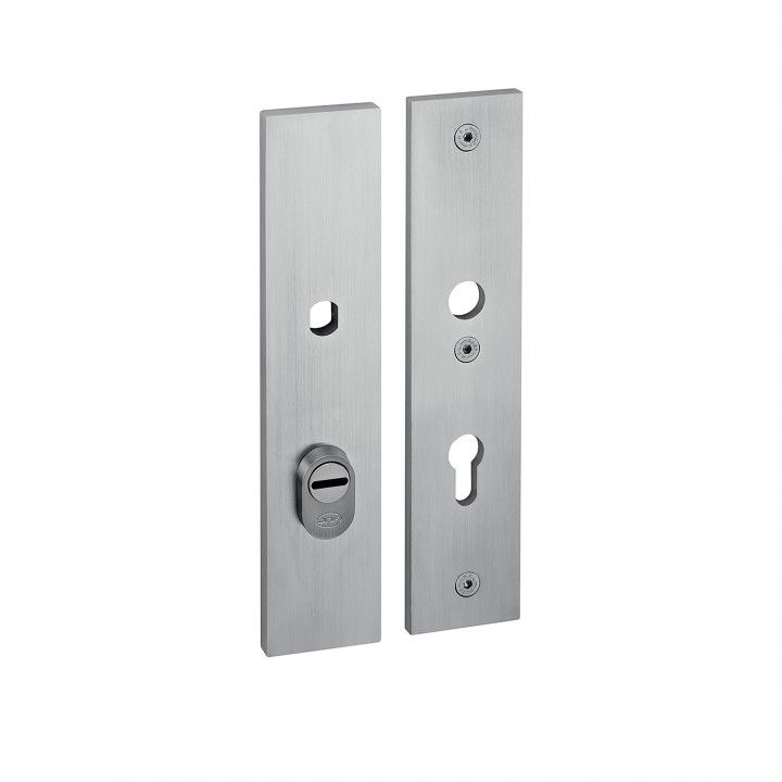 Safety plate with cylinder protection and fixed knob - 250 x 55mm - 72mm