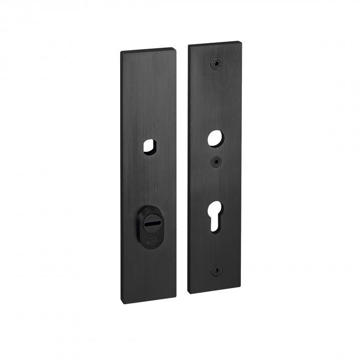 Safety plate with cylinder protection- 250 x 55mm - TITANIUM BLACK