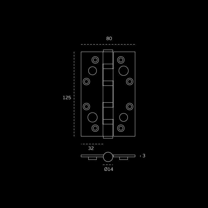 Dobradiça segurança de eixo amovível com 4 rolamentos Corta fogo - AISI 316 - 80 x 125 x 3mm