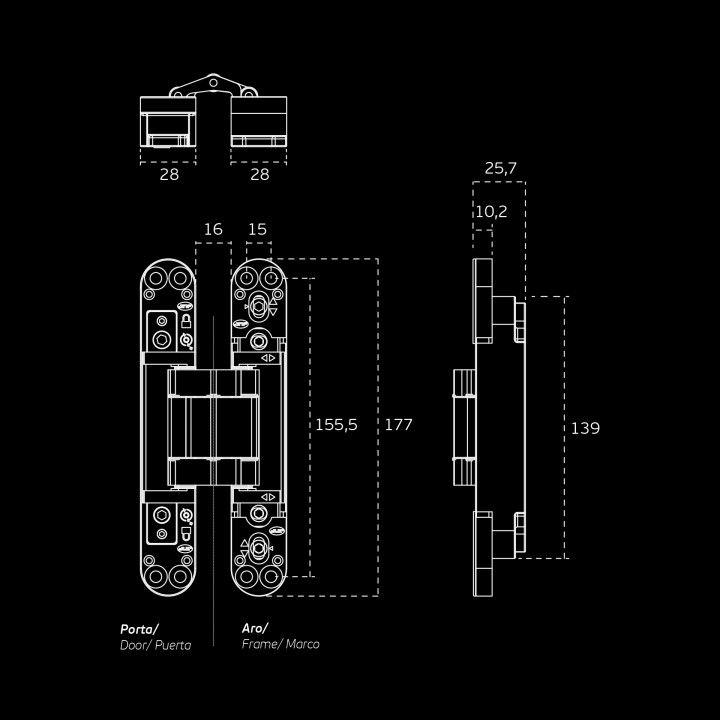 """Dobradiça invisível com ajuste 3D """"Coplan 175"""""""
